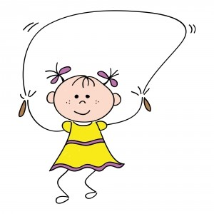 cartoon jump rope girl