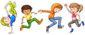 Illustration of many teenagers dancing